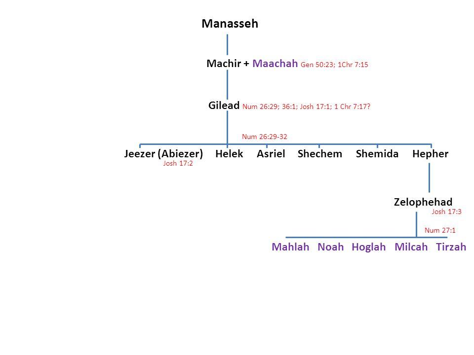 Manasseh Machir + Maachah Gen 50:23; 1Chr 7:15 Gilead Num 26:29; 36:1; Josh 17:1; 1 Chr 7:17? Jeezer (Abiezer) Helek Asriel Shechem Shemida Hepher Zel