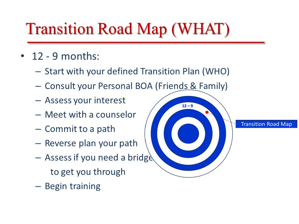 Transition Road Map (WHAT) 12 - 9 months: – Start with your defined Transition Plan (WHO) – Consult your Personal BOA (Friends & Family) – Assess your interest – Meet with a counselor – Commit to a path – Reverse plan your path – Assess if you need a bridge to get you through – Begin training