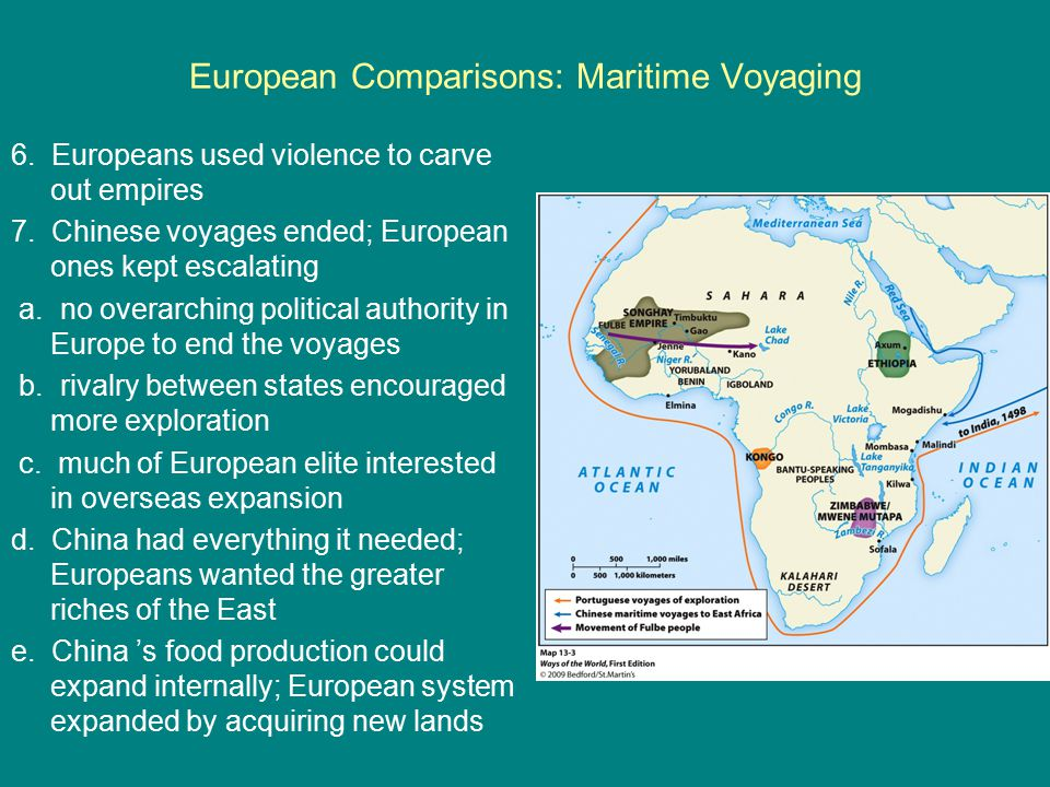 European Comparisons: Maritime Voyaging 6. Europeans used violence to carve out empires 7. Chinese voyages ended; European ones kept escalating a. no