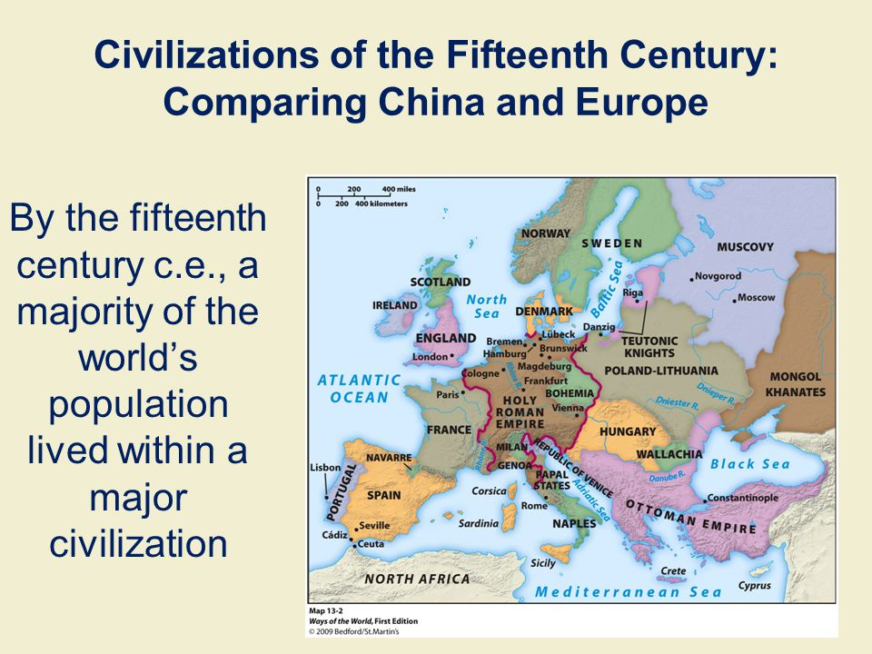 By the fifteenth century c.e., a majority of the world's population lived within a major civilization Civilizations of the Fifteenth Century: Comparin