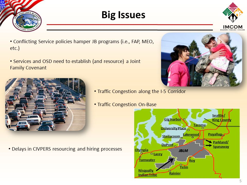 Big Issues 5 Conflicting Service policies hamper JB programs (i.e., FAP, MEO, etc.) Services and OSD need to establish (and resource) a Joint Family C