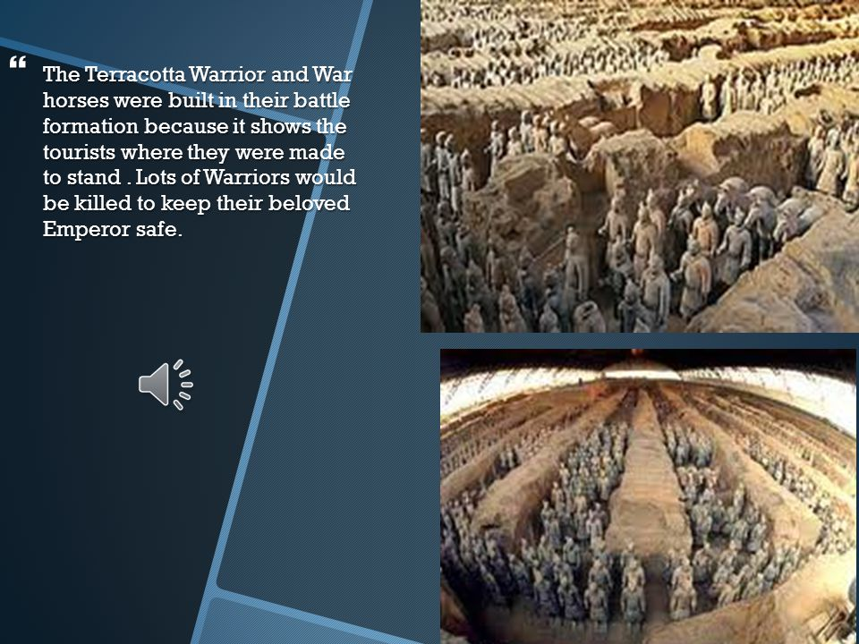 BBBBecause the Emperor was getting old he knew he was going to die, so he made the Chinese people build statues of the Warriors so they could die