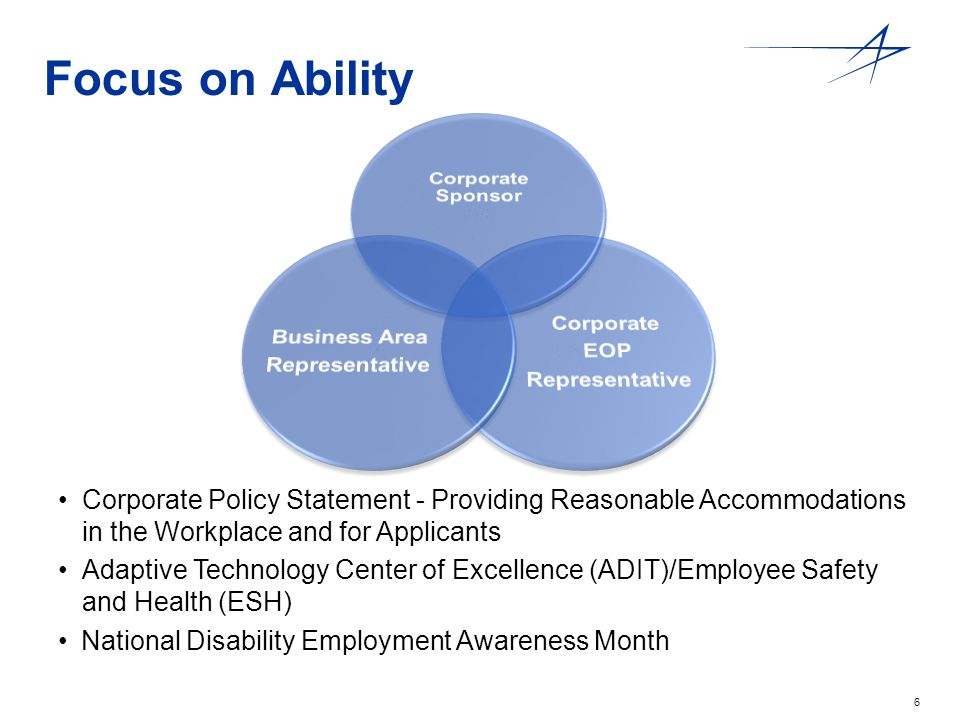 6 Focus on Ability Corporate Policy Statement - Providing Reasonable Accommodations in the Workplace and for Applicants Adaptive Technology Center of Excellence (ADIT)/Employee Safety and Health (ESH) National Disability Employment Awareness Month