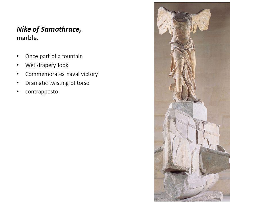 Nike of Samothrace, marble.
