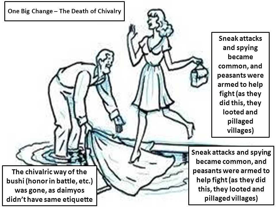 One Big Change – The Death of Chivalry The chivalric way of the bushi (honor in battle, etc.) was gone, as daimyos didn't have same etiquette Sneak attacks and spying became common, and peasants were armed to help fight (as they did this, they looted and pillaged villages)