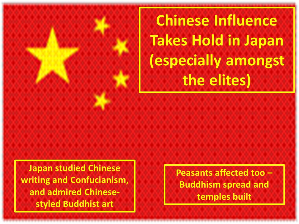 Chinese Influence Takes Hold in Japan (especially amongst the elites) Japan studied Chinese writing and Confucianism, and admired Chinese- styled Buddhist art Peasants affected too – Buddhism spread and temples built