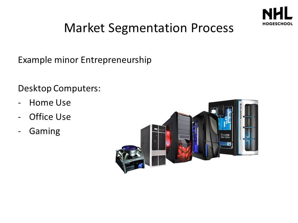 Market Segmentation Process Example minor Entrepreneurship Desktop Computers: -Home Use -Office Use -Gaming