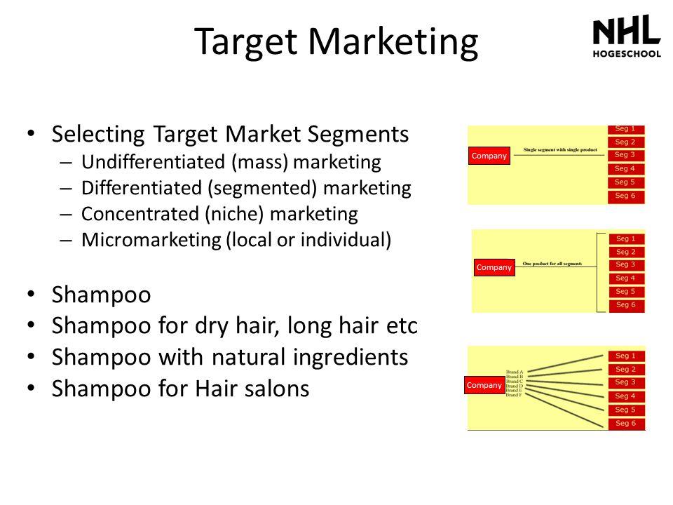 Target Marketing Selecting Target Market Segments – Undifferentiated (mass) marketing – Differentiated (segmented) marketing – Concentrated (niche) ma