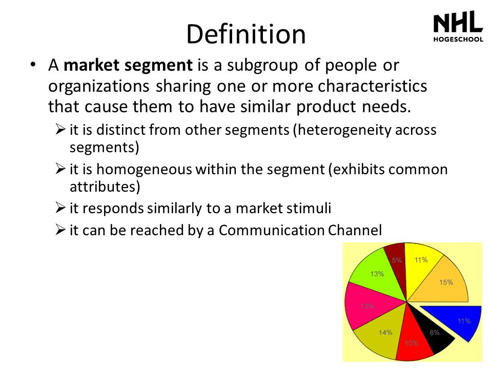 Definition A market segment is a subgroup of people or organizations sharing one or more characteristics that cause them to have similar product needs