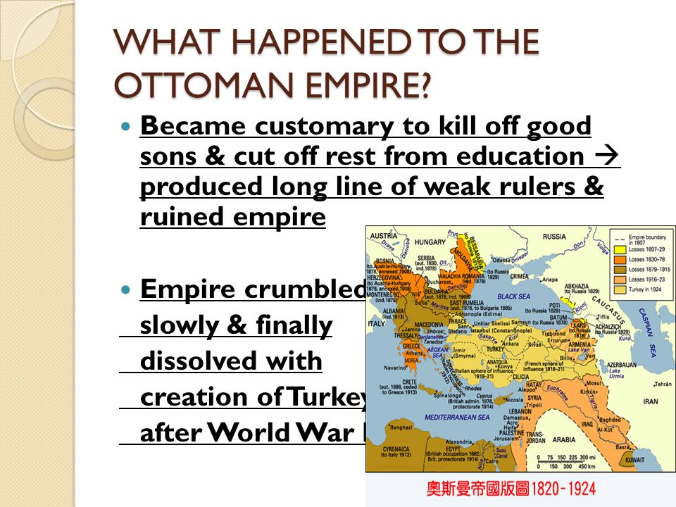 WHAT HAPPENED TO THE OTTOMAN EMPIRE.