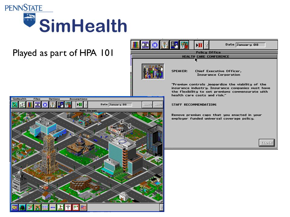 SimHealth Played as part of HPA 101