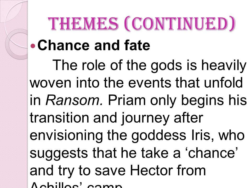 Themes (continued) Chance and fate The role of the gods is heavily woven into the events that unfold in Ransom.