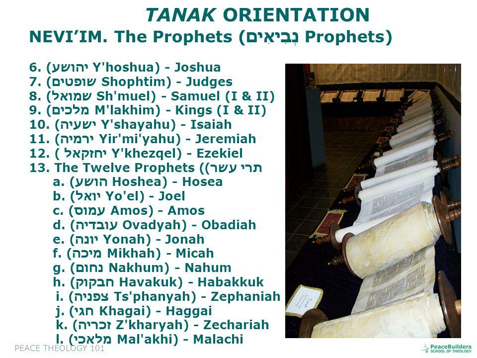 NEVI'IM. The Prophets ( נְבִיאִים Prophets) 6. ( יהושע Y hoshua) - Joshua 7.