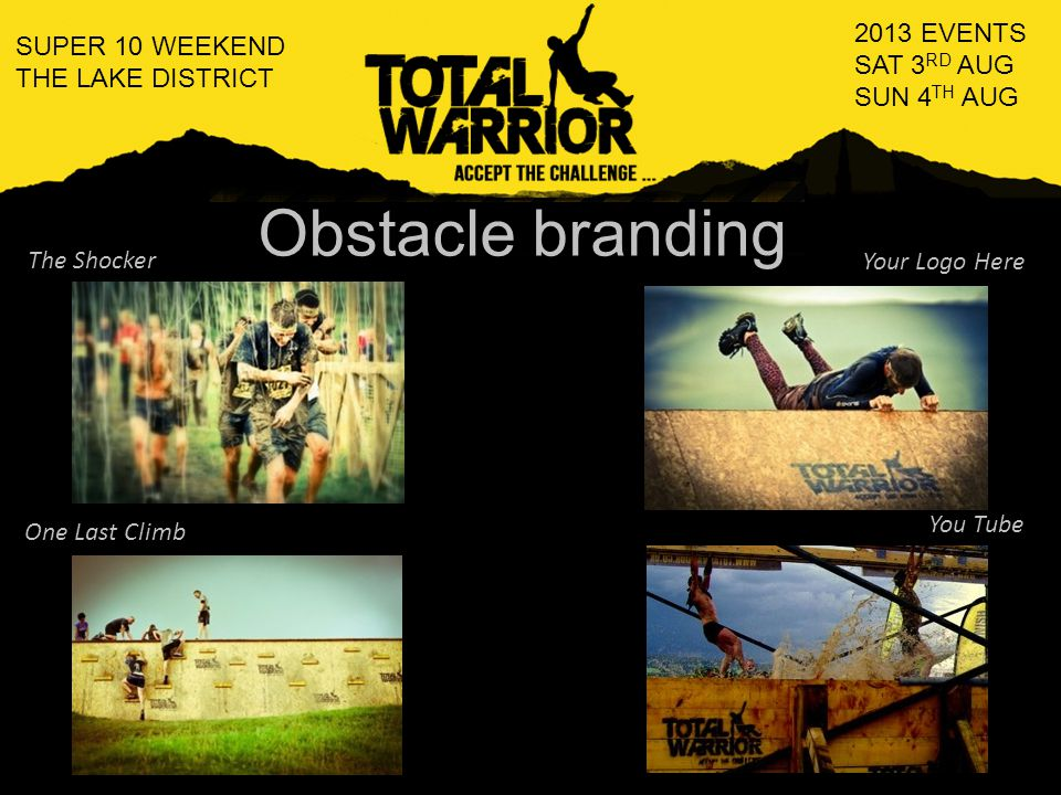 What can we offer in return Logo and link on every page of Total Warrior website Exposure through Total Warrior social media sites Logo and link in pre event emails to participants Event day exposure (banners, stand, posters etc) Obstacle branding T-shirt and clothing branding VIP team entry