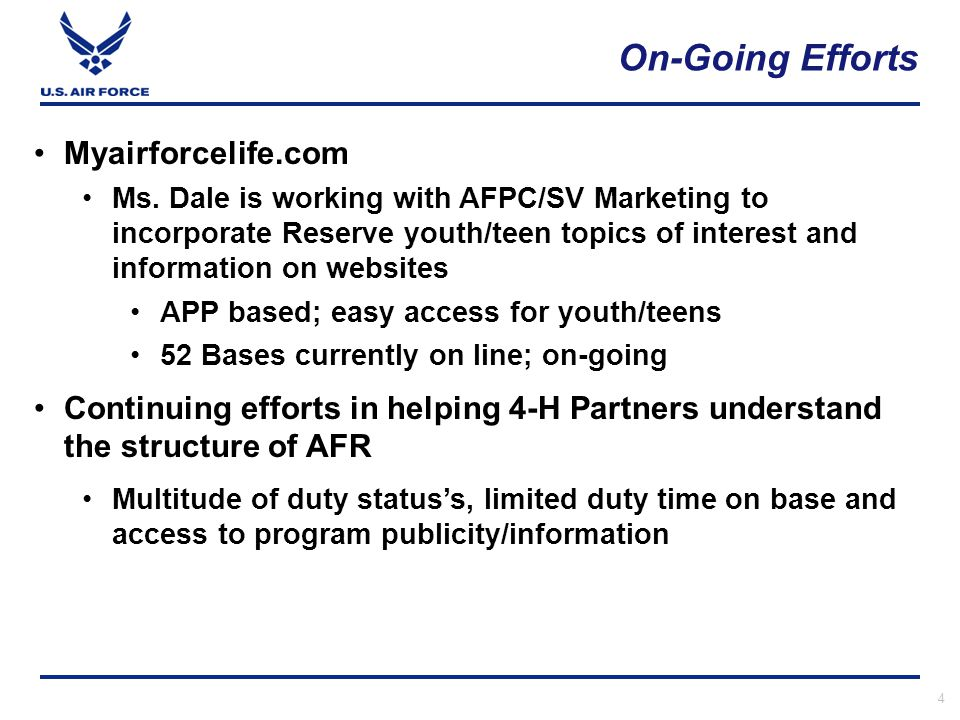 On-Going Efforts 4 Myairforcelife.com Ms.