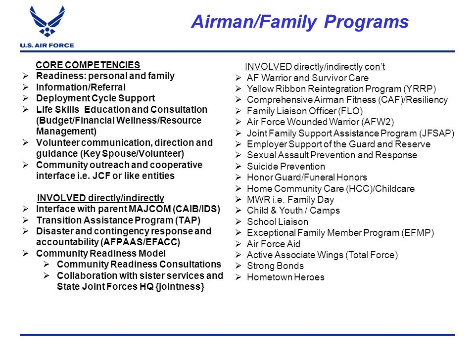 Airman/Family Programs CORE COMPETENCIES  Readiness: personal and family  Information/Referral  Deployment Cycle Support  Life Skills Education and Consultation (Budget/Financial Wellness/Resource Management)  Volunteer communication, direction and guidance (Key Spouse/Volunteer)  Community outreach and cooperative interface i.e.