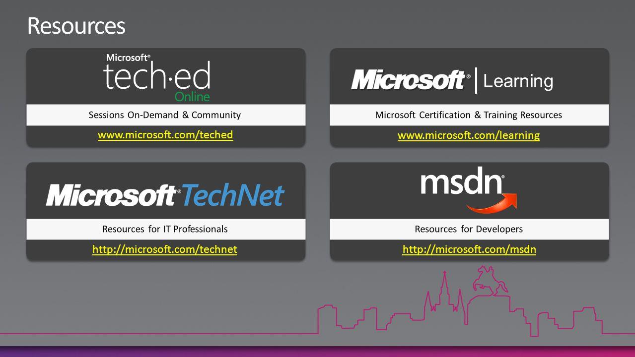 www.microsoft.com/teched www.microsoft.com/learning http://microsoft.com/technet http://microsoft.com/msdn