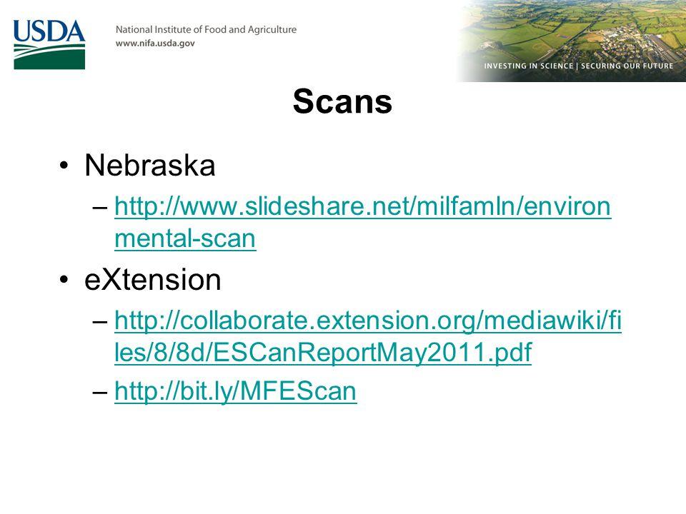 Scans Nebraska –http://www.slideshare.net/milfamln/environ mental-scanhttp://www.slideshare.net/milfamln/environ mental-scan eXtension –http://collaborate.extension.org/mediawiki/fi les/8/8d/ESCanReportMay2011.pdfhttp://collaborate.extension.org/mediawiki/fi les/8/8d/ESCanReportMay2011.pdf –http://bit.ly/MFEScanhttp://bit.ly/MFEScan