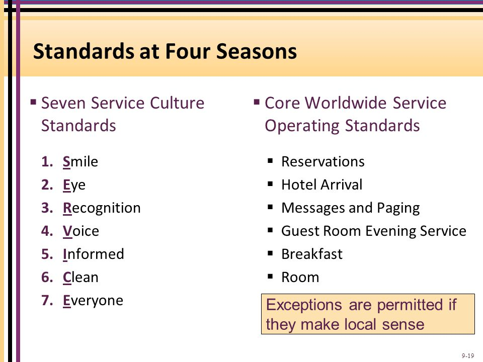 Standards at Four Seasons  Seven Service Culture Standards  Core Worldwide Service Operating Standards 1.Smile 2.Eye 3.Recognition 4.Voice 5.Informe