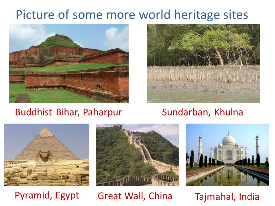 Picture of some more world heritage sites Buddhist Bihar, PaharpurSundarban, Khulna Pyramid, Egypt Great Wall, China Tajmahal, India