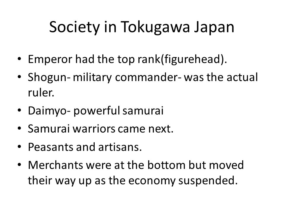 Society in Tokugawa Japan Peasant farmers bore main tax burden.