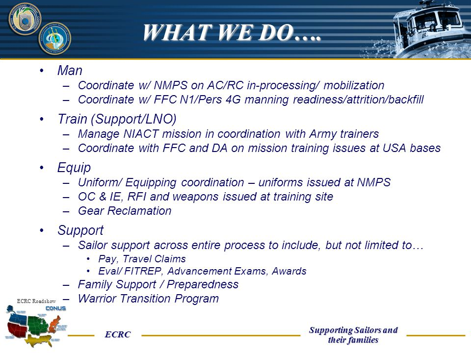 UNCLASSIFIED ECRC Supporting Sailors and their families ECRC Roadshow Man –Coordinate w/ NMPS on AC/RC in-processing/ mobilization –Coordinate w/ FFC
