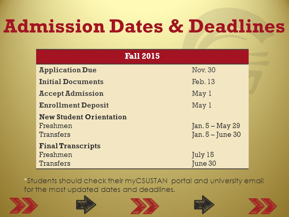 Admission Dates & Deadlines *Students should check their myCSUSTAN portal and university email for the most updated dates and deadlines.