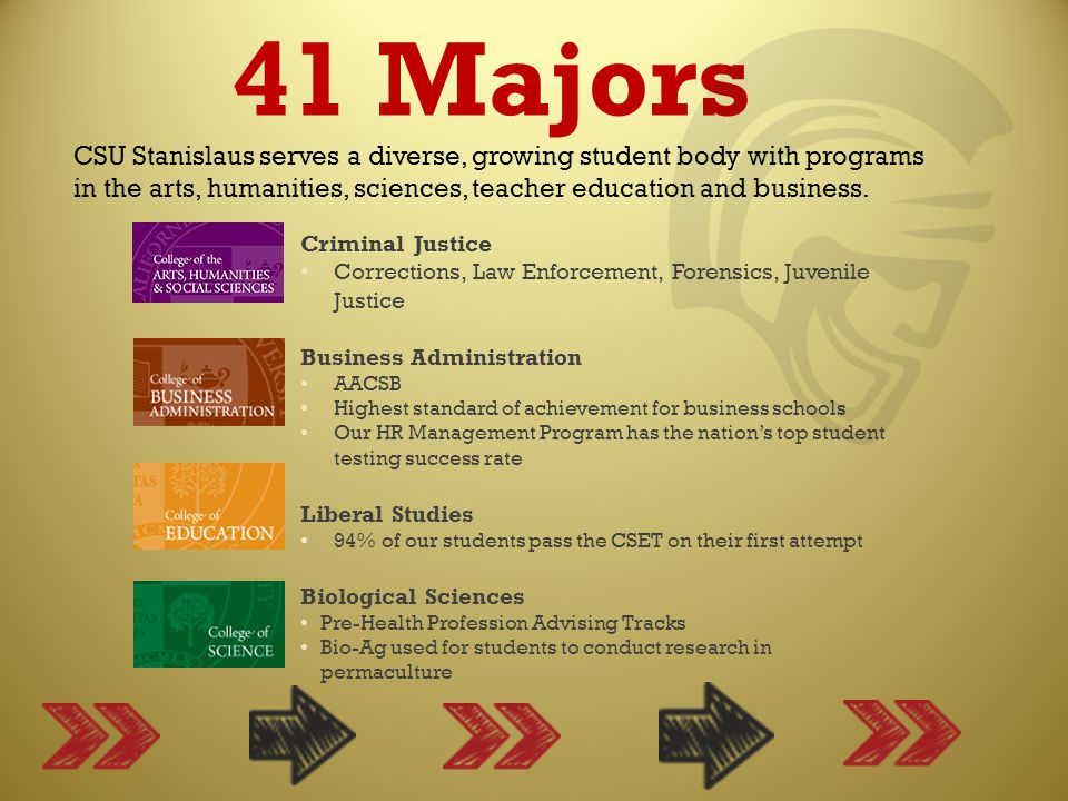 41 Majors CSU Stanislaus serves a diverse, growing student body with programs in the arts, humanities, sciences, teacher education and business.