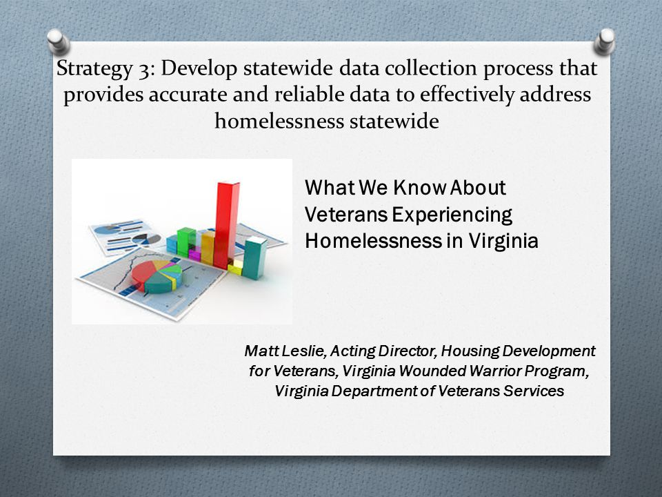 Strategy 3: Develop statewide data collection process that provides accurate and reliable data to effectively address homelessness statewide What We Know About Veterans Experiencing Homelessness in Virginia Matt Leslie, Acting Director, Housing Development for Veterans, Virginia Wounded Warrior Program, Virginia Department of Veterans Services
