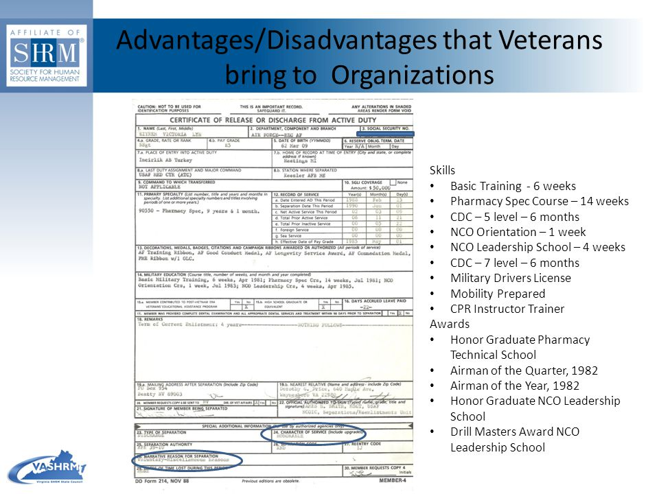 Advantages/Disadvantages that Veterans bring to Organizations Skills Basic Training - 6 weeks Pharmacy Spec Course – 14 weeks CDC – 5 level – 6 months NCO Orientation – 1 week NCO Leadership School – 4 weeks CDC – 7 level – 6 months Military Drivers License Mobility Prepared CPR Instructor Trainer Awards Honor Graduate Pharmacy Technical School Airman of the Quarter, 1982 Airman of the Year, 1982 Honor Graduate NCO Leadership School Drill Masters Award NCO Leadership School