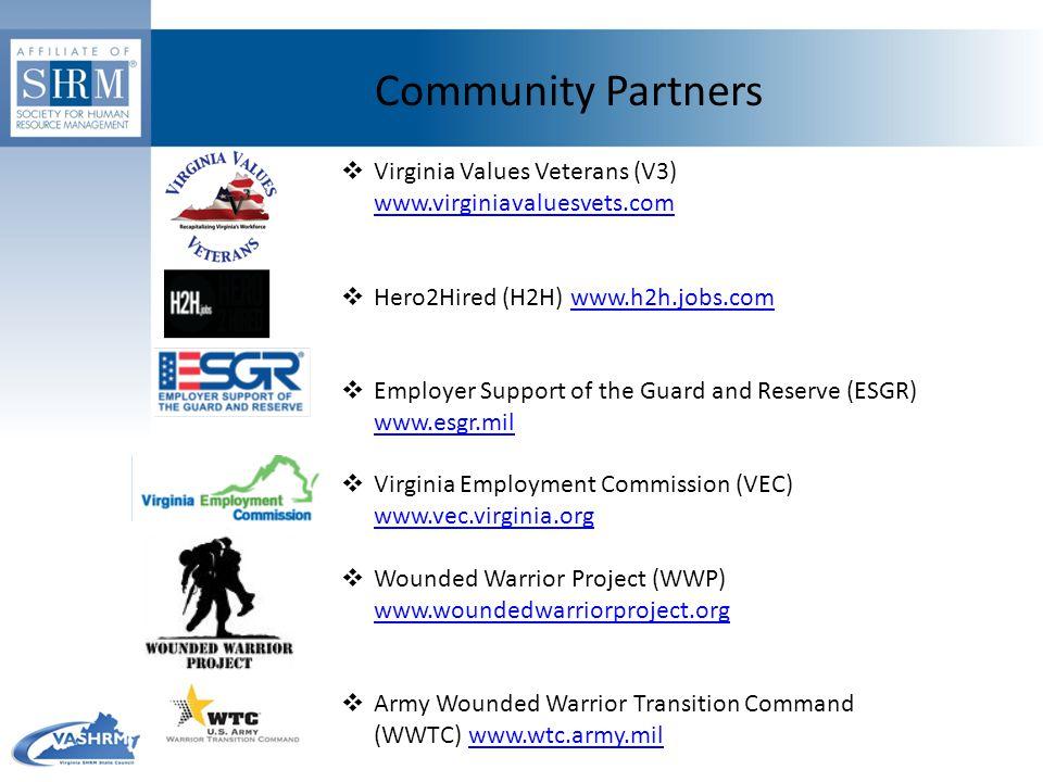 Community Partners  Virginia Values Veterans (V3) www.virginiavaluesvets.com www.virginiavaluesvets.com  Hero2Hired (H2H) www.h2h.jobs.comwww.h2h.jo