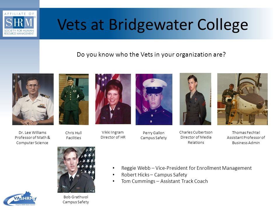 Vets at Bridgewater College Do you know who the Vets in your organization are? Dr. Lee Williams Professor of Math & Computer Science Perry Gallon Camp
