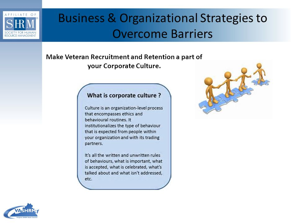 Business & Organizational Strategies to Overcome Barriers Make Veteran Recruitment and Retention a part of your Corporate Culture.