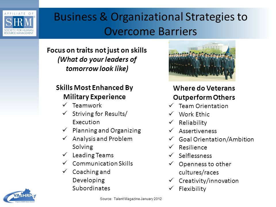 Business & Organizational Strategies to Overcome Barriers Focus on traits not just on skills (What do your leaders of tomorrow look like) Skills Most Enhanced By Military Experience Teamwork Striving for Results/ Execution Planning and Organizing Analysis and Problem Solving Leading Teams Communication Skills Coaching and Developing Subordinates Where do Veterans Outperform Others Team Orientation Work Ethic Reliability Assertiveness Goal Orientation/Ambition Resilience Selflessness Openness to other cultures/races Creativity/innovation Flexibility Source: Talent Magazine January 2012