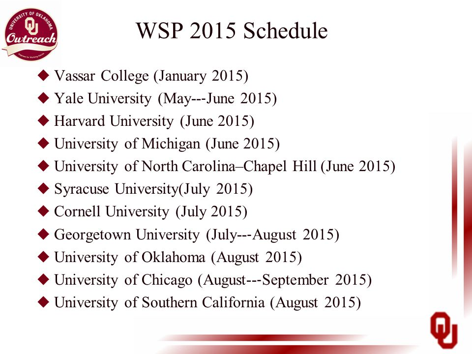 WSP 2015 Schedule u Vassar College (January 2015) u Yale University (May-- ‐ June 2015) u Harvard University (June 2015) u University of Michigan (June 2015) u University of North Carolina–Chapel Hill (June 2015) u Syracuse University(July 2015) u Cornell University (July 2015) u Georgetown University (July-- ‐ August 2015) u University of Oklahoma (August 2015) u University of Chicago (August-- ‐ September 2015) u University of Southern California (August 2015)