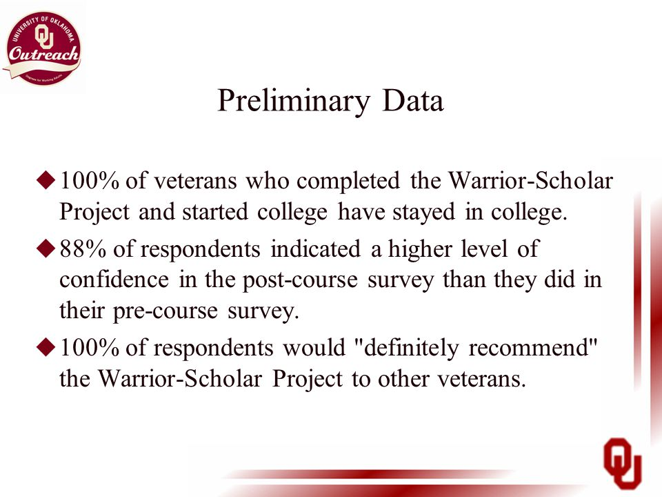 Preliminary Data u 100% of veterans who completed the Warrior-Scholar Project and started college have stayed in college.
