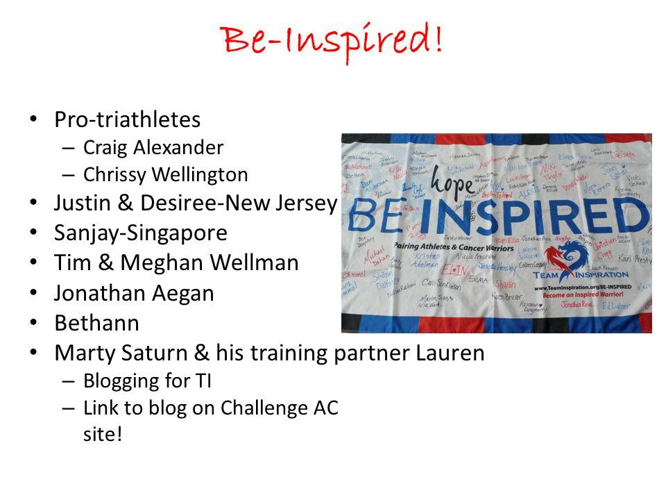 Be-Inspired! Pro-triathletes – Craig Alexander – Chrissy Wellington Justin & Desiree-New Jersey Sanjay-Singapore Tim & Meghan Wellman Jonathan Aegan B