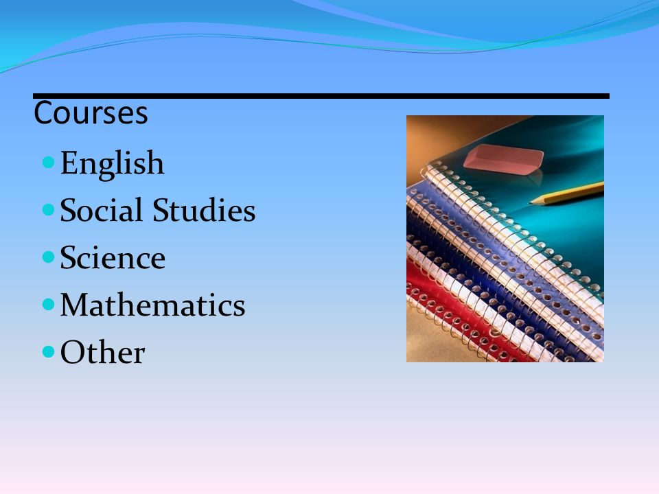 English Social Studies Science Mathematics Other Courses