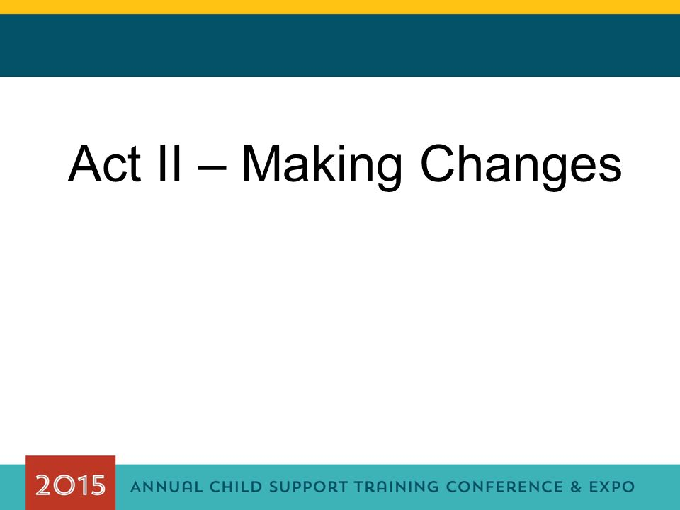 Act II – Making Changes