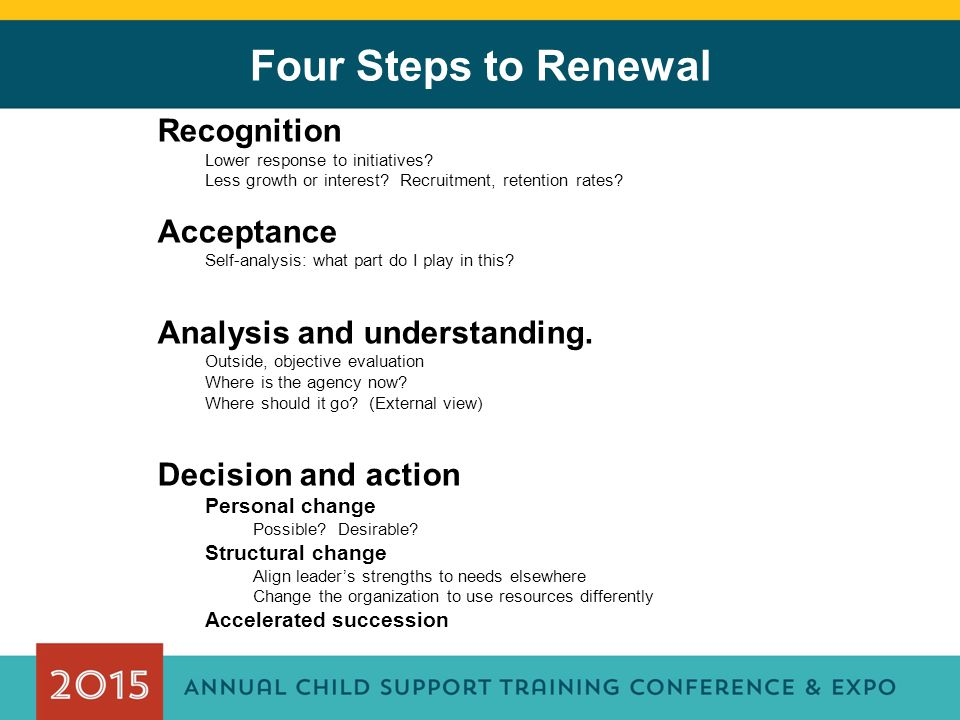 Four Steps to Renewal Recognition Lower response to initiatives.