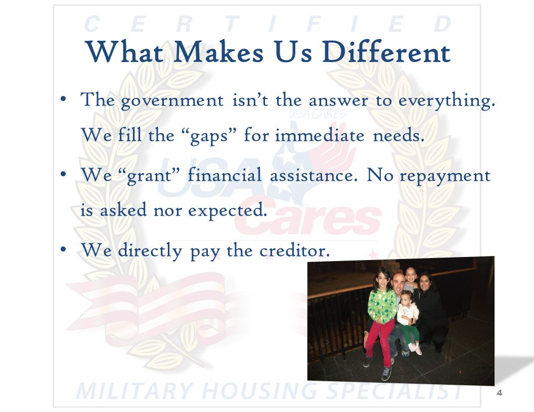 Wounded Warrior Program Pay Purpose: To Provide accurate, real-time financial support to servicemembers Entitlements Basic Allowance for Subsistence (BAS) Casual Pay Pay & Allowance Continuation (PAC) Traumatic Servicemembers Group Life Insurance