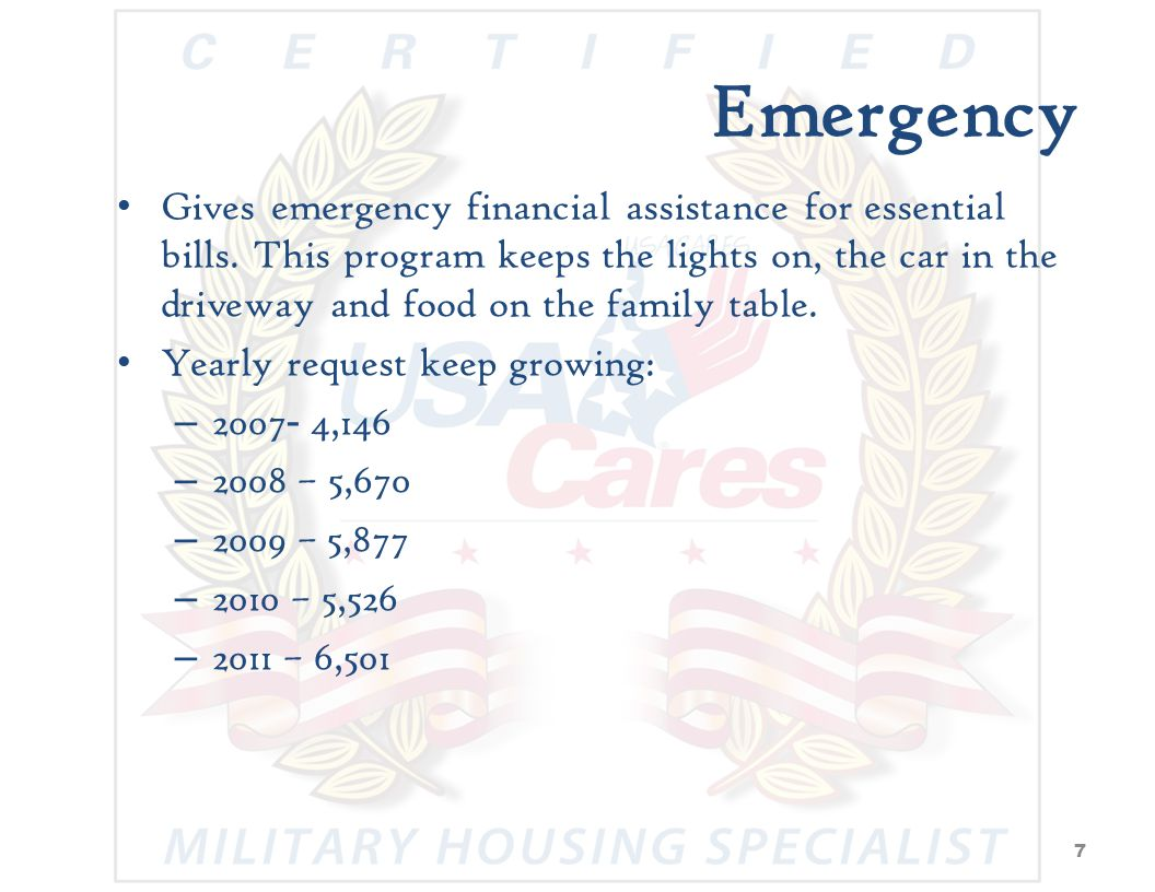 HOUSING Pays the rent/mortgage Must complete budget counseling To Date: Over 4,500 homes from foreclosure & eviction saved.
