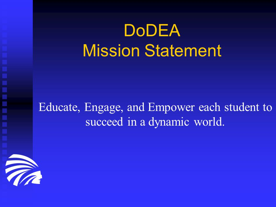 DoDEA Community Strategic Plan Highest Student Achievement Highest Student Achievement Performance-Driven, Efficient Management Systems Performance-Driven, Efficient Management Systems Motivated, High Performing, Diverse Workforce Motivated, High Performing, Diverse Workforce Promoting Student Development through Partnerships and Communication Promoting Student Development through Partnerships and Communication