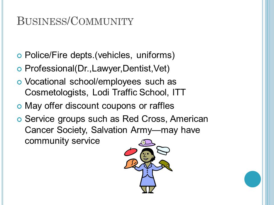 B USINESS /C OMMUNITY Police/Fire depts.(vehicles, uniforms) Professional(Dr.,Lawyer,Dentist,Vet) Vocational school/employees such as Cosmetologists, Lodi Traffic School, ITT May offer discount coupons or raffles Service groups such as Red Cross, American Cancer Society, Salvation Army—may have community service