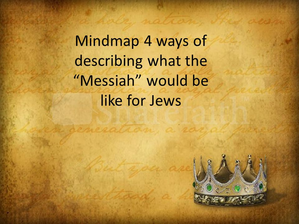 Mindmap 4 ways of describing what the Messiah would be like for Jews