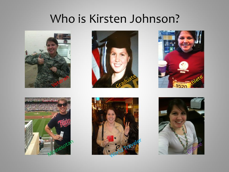Who is Kirsten Johnson Veteran Graduate Athlete World Traveler Minnesotan Ojibwe