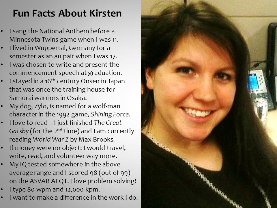 Fun Facts About Kirsten I sang the National Anthem before a Minnesota Twins game when I was 11.