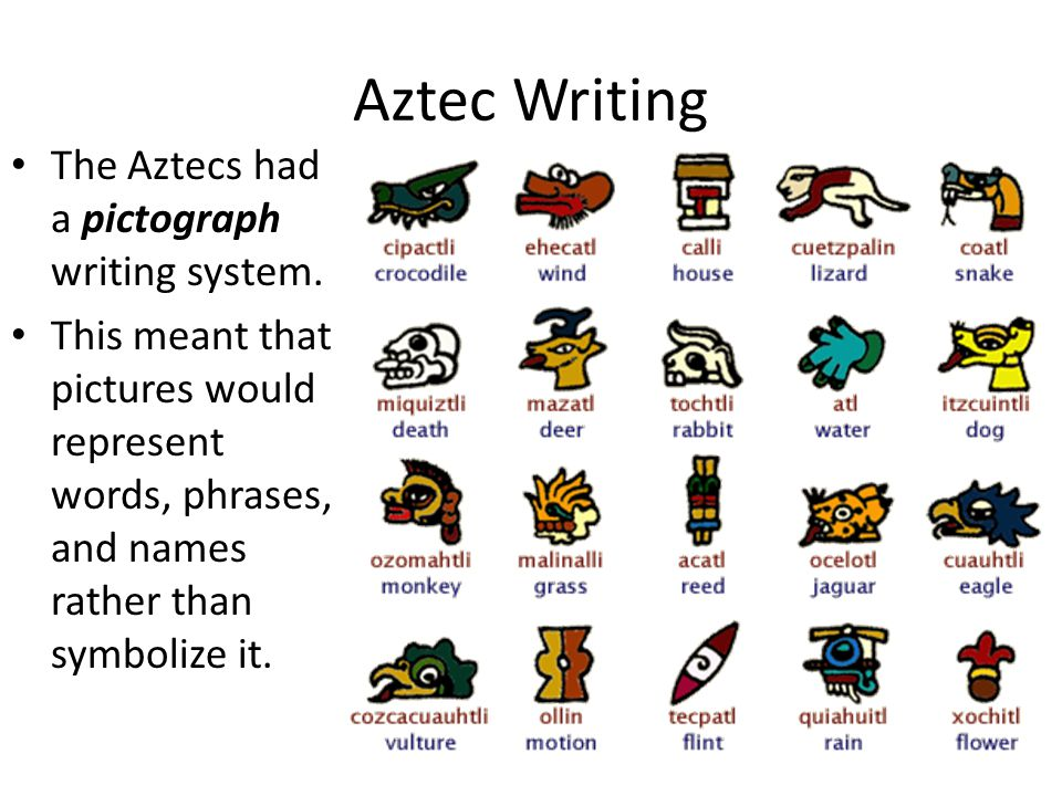 Aztec Writing The Aztecs had a pictograph writing system.