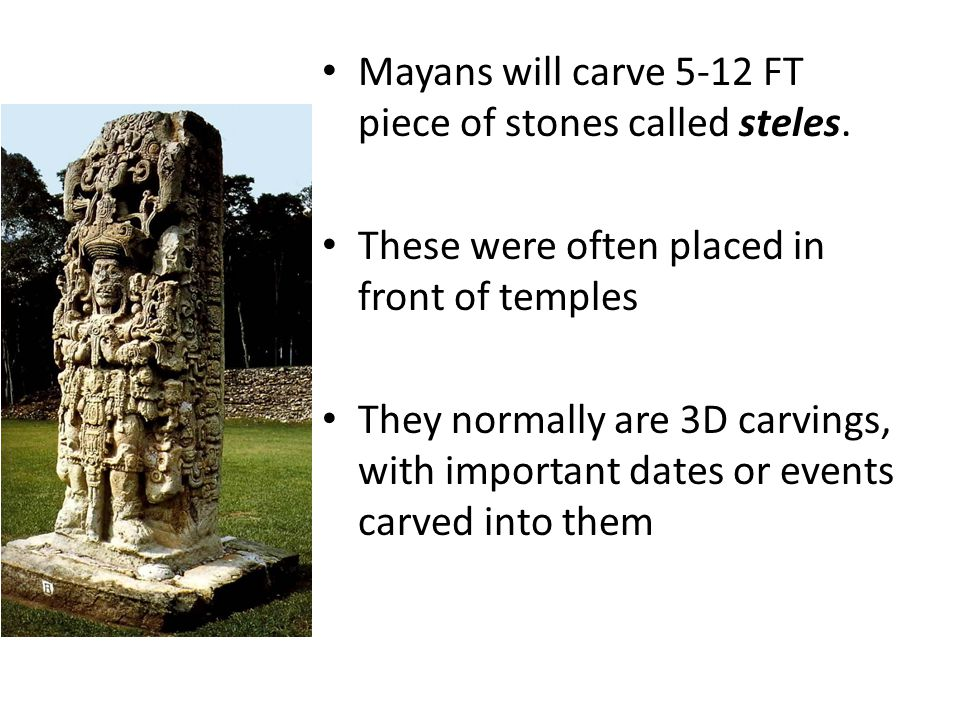 Mayans will carve 5-12 FT piece of stones called steles.