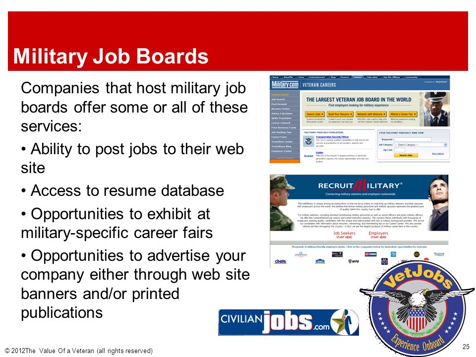 Military Job Boards Companies that host military job boards offer some or all of these services: Ability to post jobs to their web site Access to resume database Opportunities to exhibit at military-specific career fairs Opportunities to advertise your company either through web site banners and/or printed publications © 2012The Value Of a Veteran (all rights reserved) 25